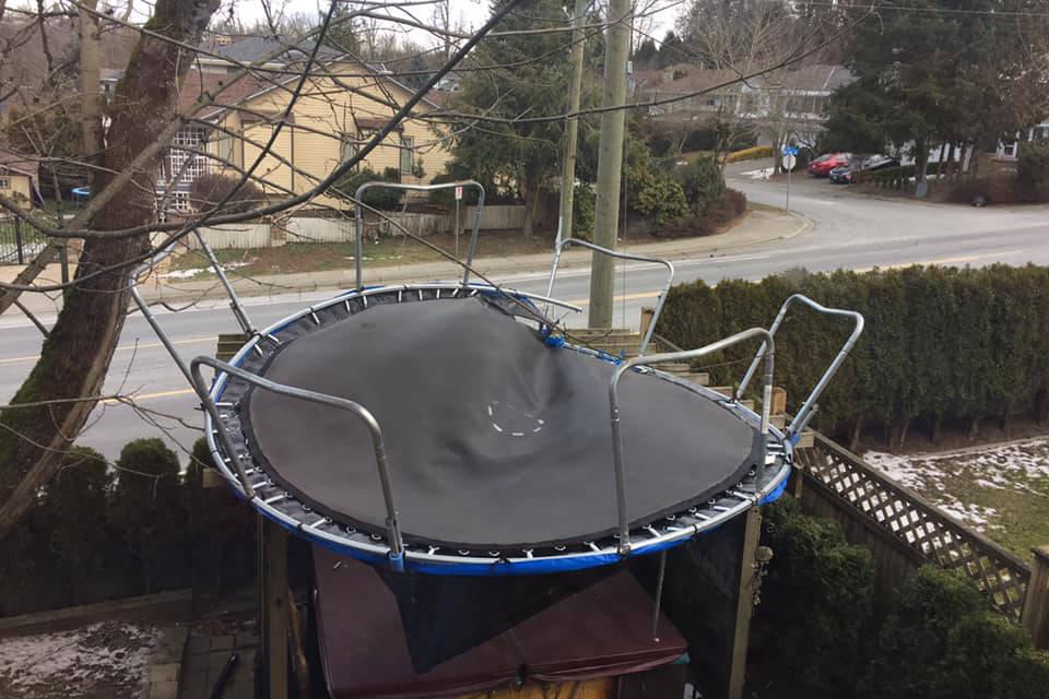 Wind steals Abbotsford's trampolines