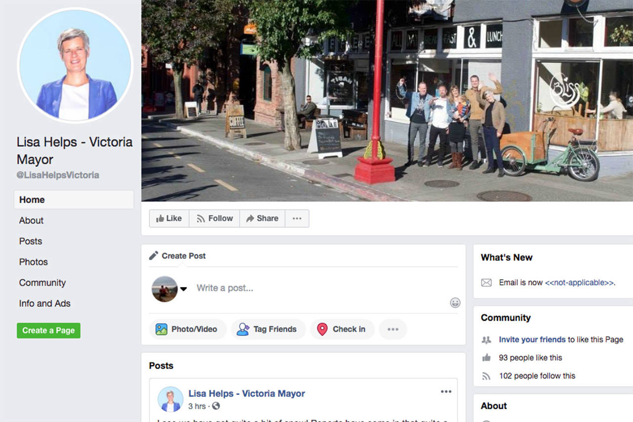 A satirical Facebook page for Victoria Mayor Lisa Helps is causing confusion. (Facebook/Lisa Helps-Victoria Mayor)