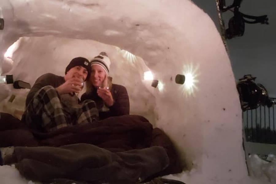 Vancouver Island couple makes most of snow, sleeps in backyard igloo