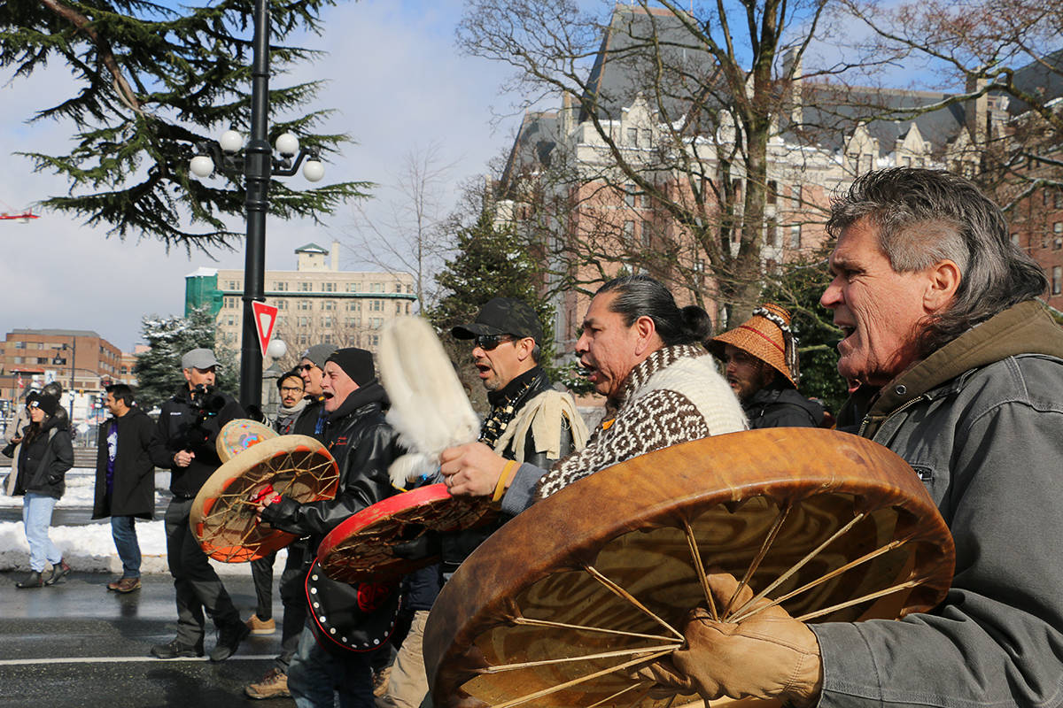 Drums lead the March to End Violence as part of the Moose Hide Campaign. (Kendra Crighton/News Staff)