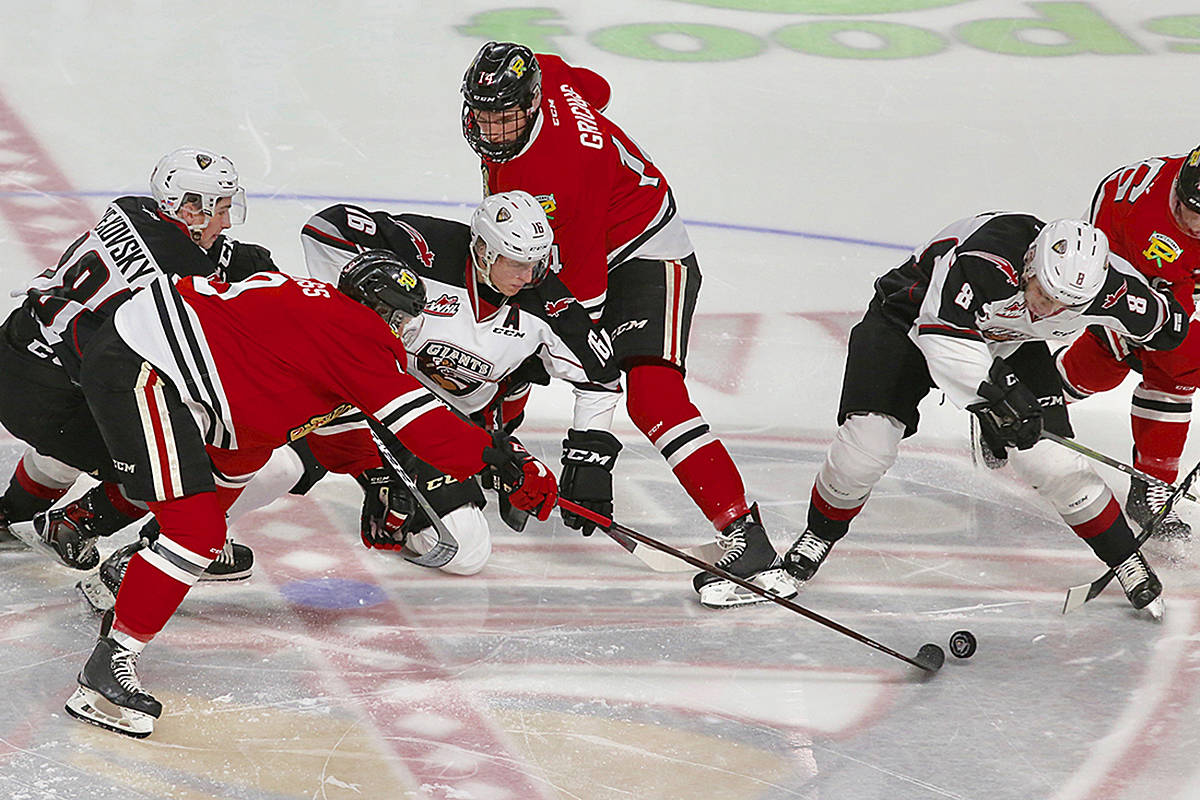 Giants fell 5-3 on home ice at the Langley Events Centre on Monday afternoon, in a battle between two of the top three Western Conference teams. (Rik Fedyck/Vancouver Giants)