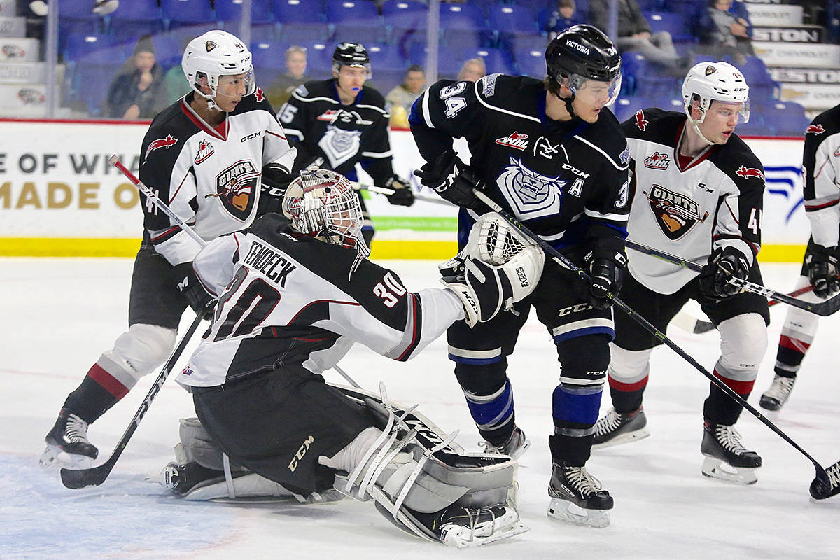 Vancouver Giants downed the Victoria Royals on home ice at Langley Events Centre Friday night. The two teams go head to head again Saturday, on Vancouver Island. (Rik Fedyck/Vancouver Giants)