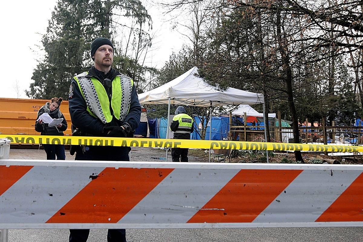 Police have set up a barricade around Anita Place Tent City. (Colleen Flanagan/THE NEWS)