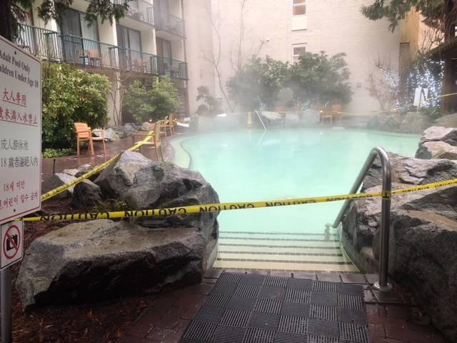 All pools are closed at Harrison Hot Springs until further notice, on Feb. 22, 2019. (Frank Klassen/Black Press Media)