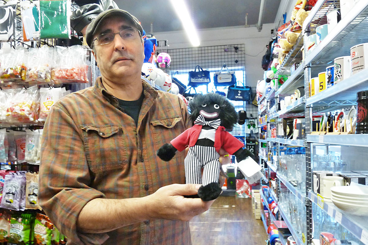 """Black Pudding store owner Greg Bowles said in 20 years, there have only been """"four or five"""" negative comments about the """"Golliwog"""" dolls the Langley British import store sells. Dan Ferguson Black Press Media"""