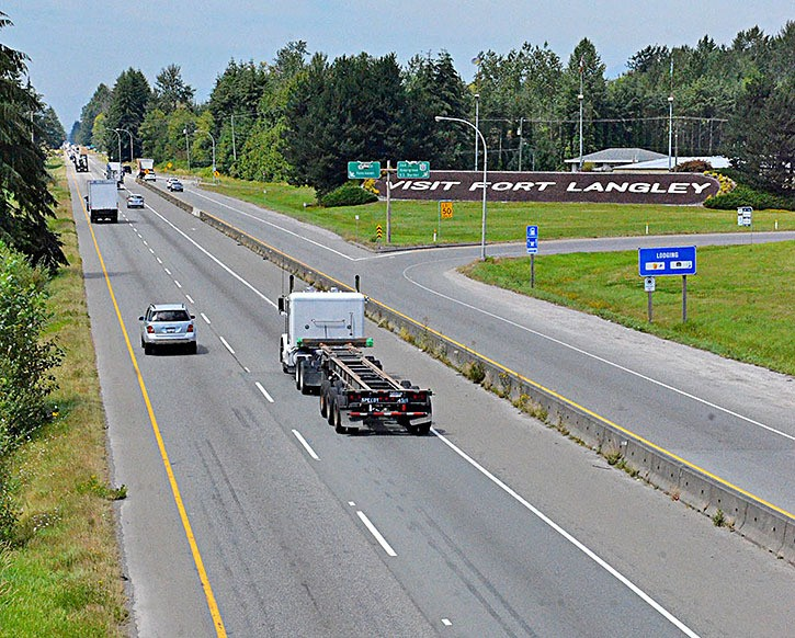 Cars heading west at the 264th Street highway interchange in Langley.