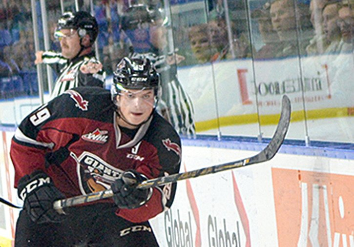 Johnny Wesley scores the last goal of the season for the Vancouver Giants