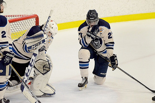Langley Rivermen captain Jordan Schneider and goaltender Bo Didur showed their emotions after the 'Men lost 3-1 to Washington State's Wenatchee Wild Friday at the George Preston Recreation Centre. The loss eliminated the Rivermen from the B.C. Hockey League playoffs.