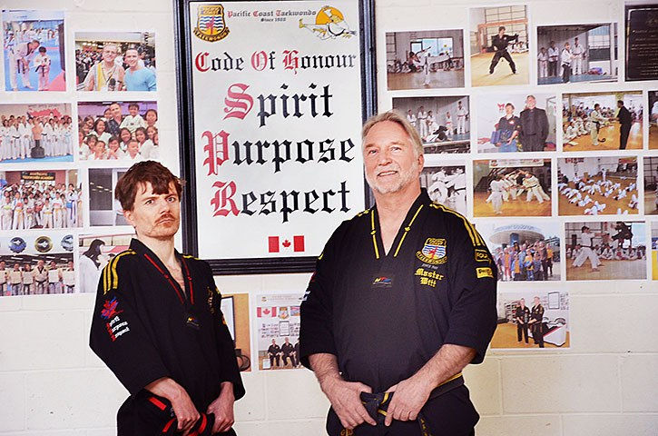 Pacific Coast Taekwondo (PCT) instructor James Witt (left) and his dad