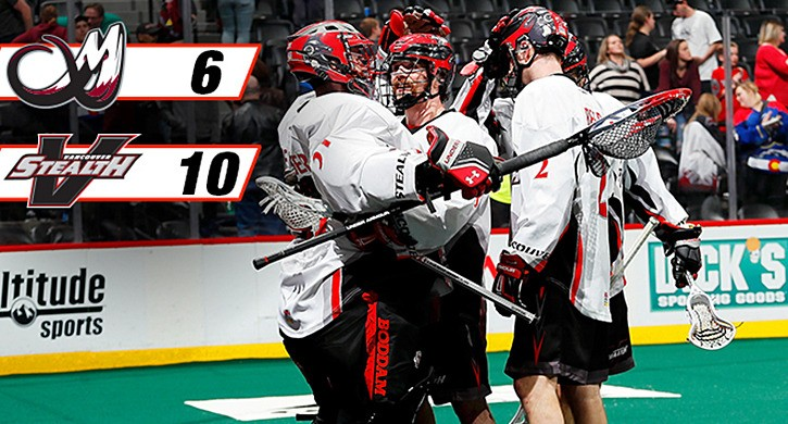 Vancouver-based Stealth defeat Colorado Mammoths 10-6 Sunday evening.