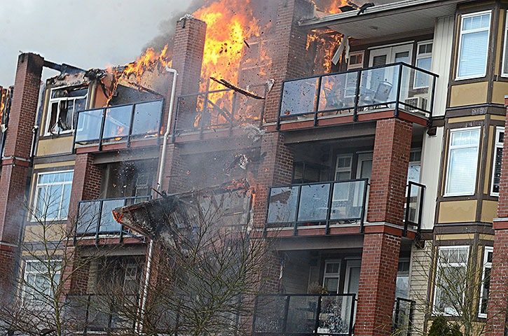 A piece of the roof of the Paddington Station condo complex fell off during Sunday morning's fire.