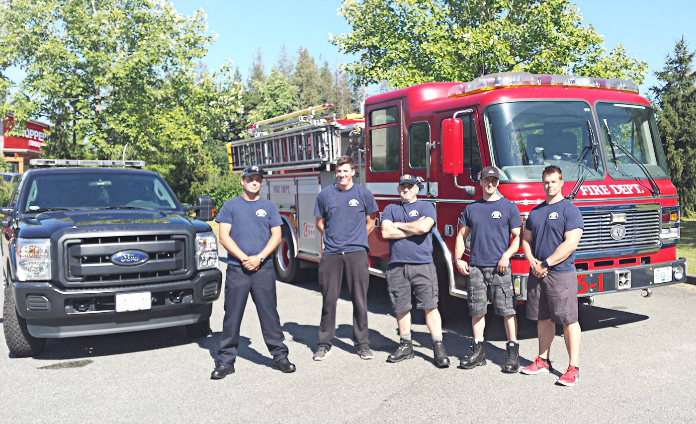 The five Township firefighters heading to Williams Lake are District Chief Bryant Ross, Lieutenant Chad Clutchey, Firefighter Clayton Nagle, Firefighter Daniel Craig, and Firefighter Tim Dickson. (Langley Township Fire Department)