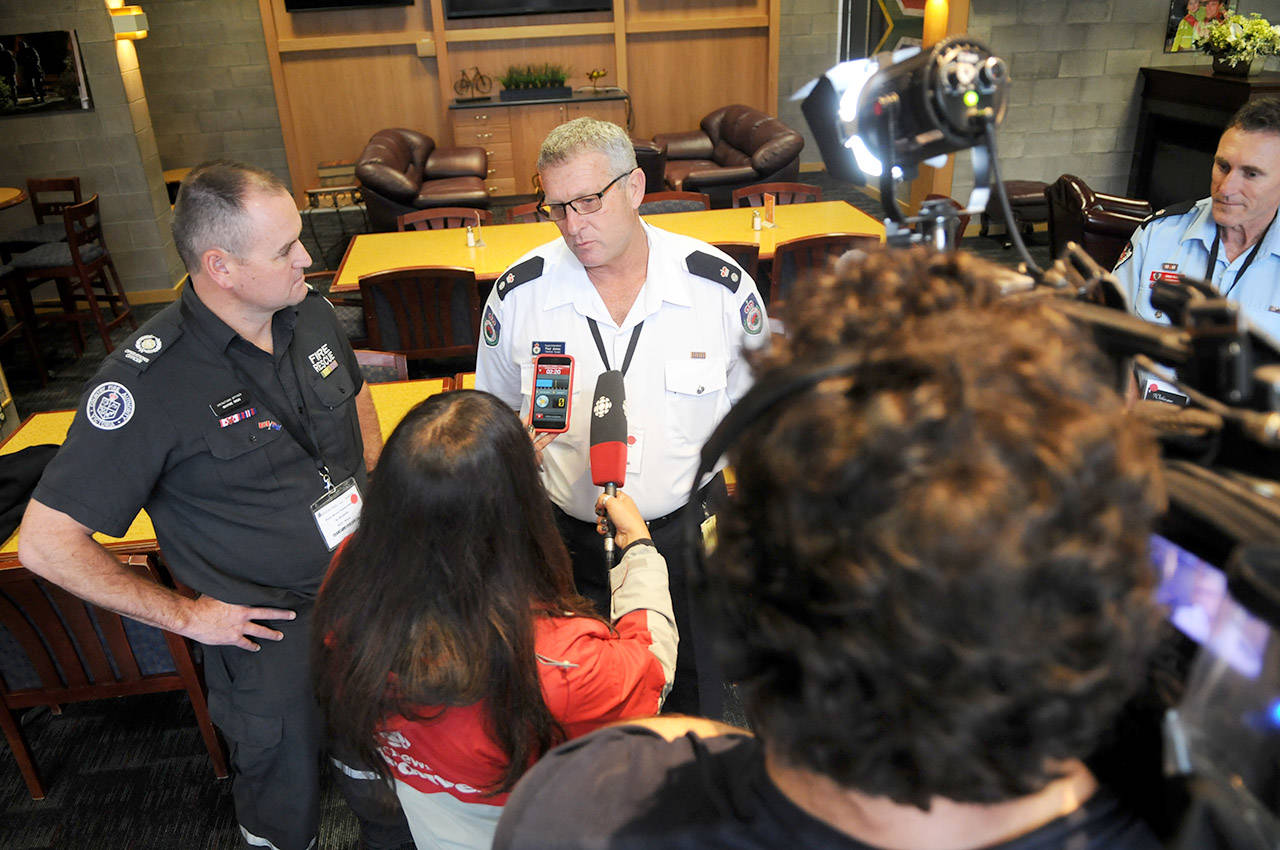 Supt. Paul Jones speaks with media on Thursday. He is part of a firefighting specialist team from Australia that has arrived in B.C. to help with the province's wildfires. (Jenna Hauck/ The Progress)