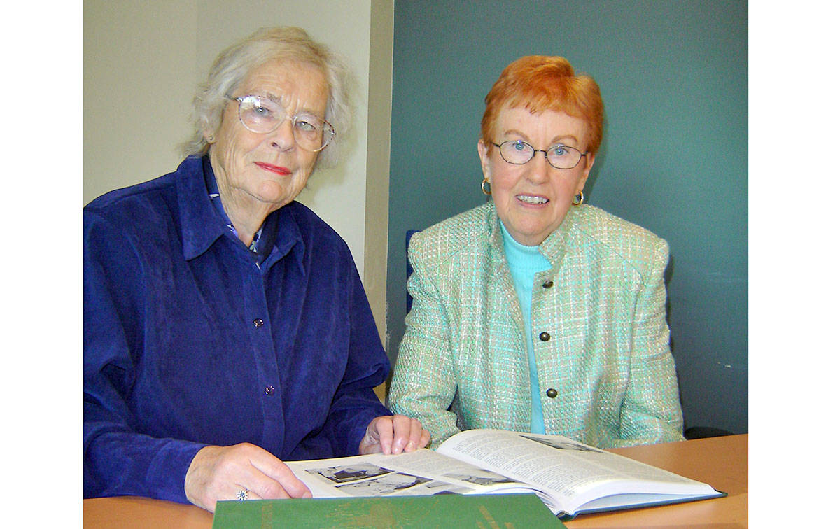 Iris Mooney (left) was on the Langley Memorial Hospital Heritage Committee along with Doris Riedweg. (Langley Advance files)