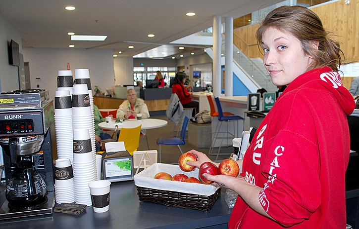 Madisen Richard has been working at the Langley Seniors Resource Society's Station Cafe in Langley City hall since it opened last month.