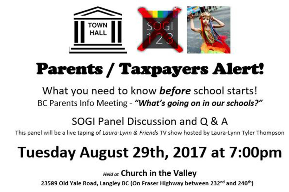 A flyer posted online advertising a meeting of parents opposed to the SOGI 123 program in schools.
