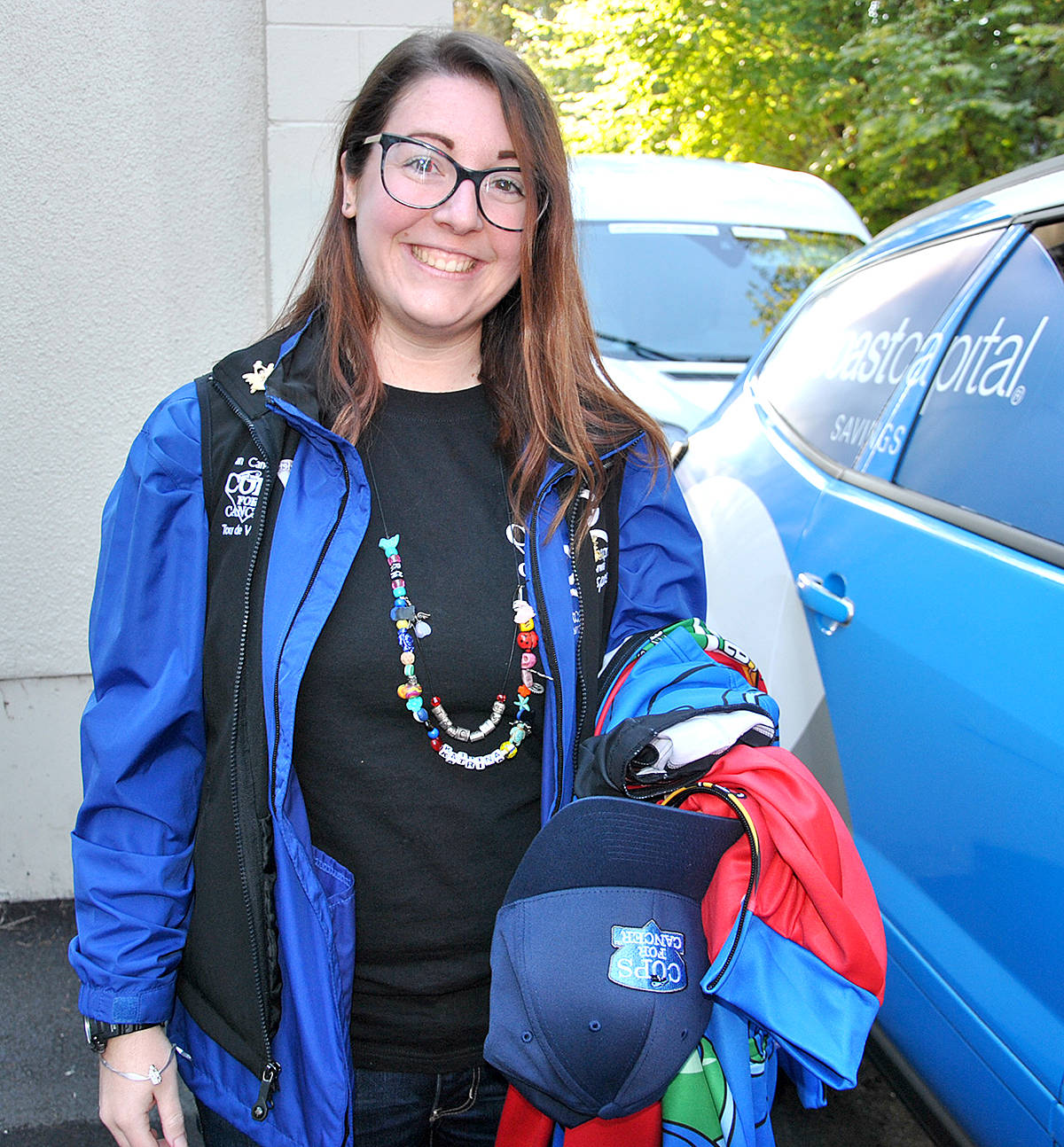 Katrina Lieberman returned to the Tour de Valley team agains this year, as one of the support team drivers with 2017 Cops for Cancer bike tour. (Roxanne Hooper/Langley Advance)