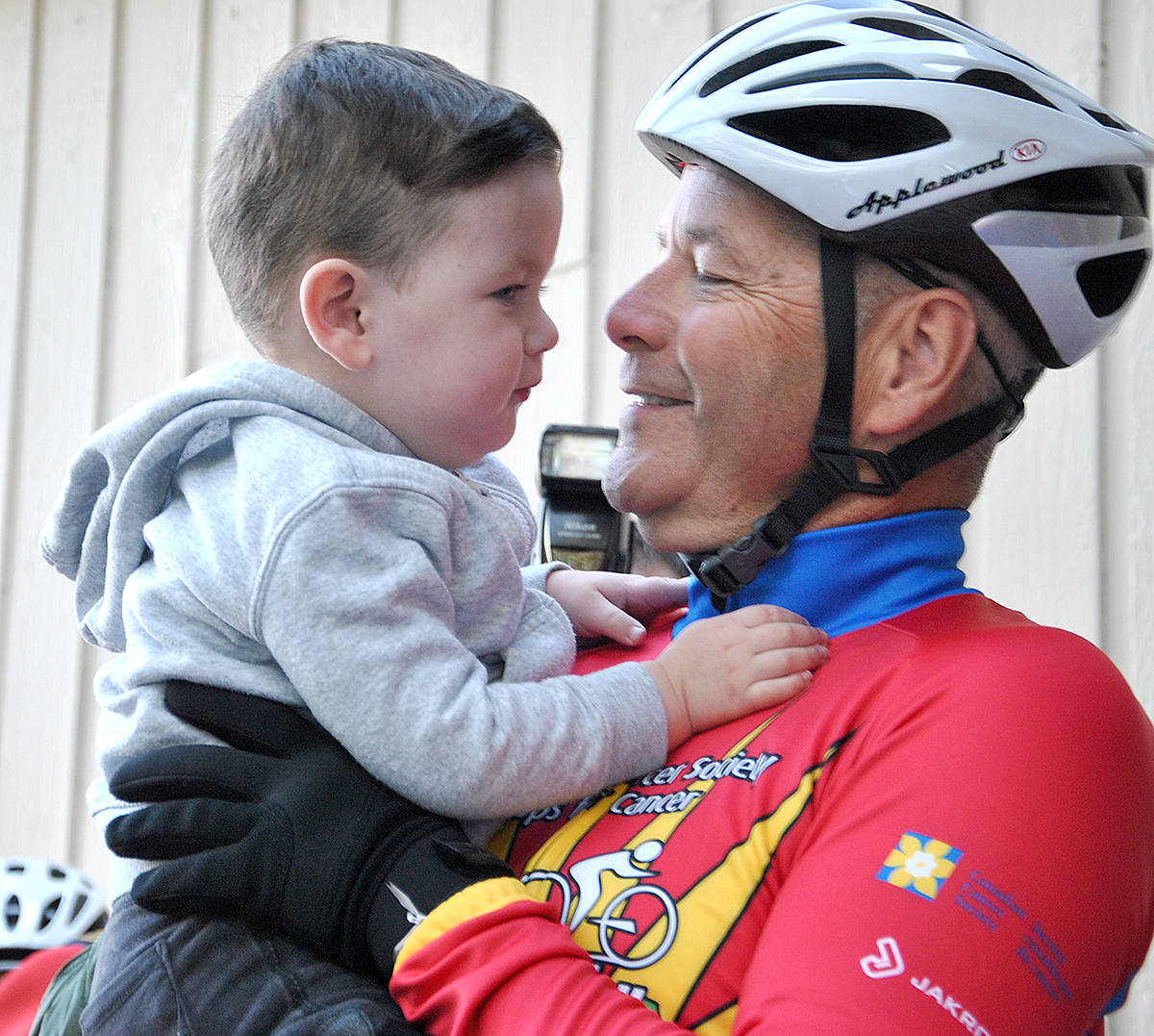 Children – health or not – prove a powerful motivator to the cyclist in the Cops for Cancer Tour de Valley fundraising bike ride. (Roxanne Hooper/Langley Advance)