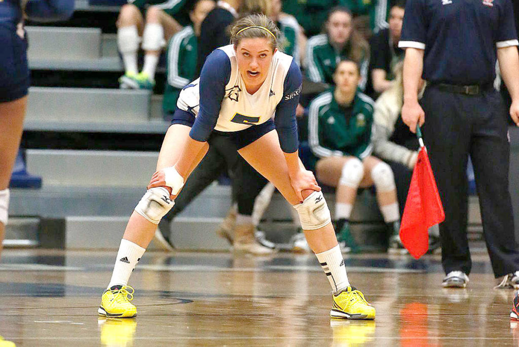 Kristen Moncks from Standard, Alta. is a former TWU graduate, back playing at LEC – much like she did for the Spartans just a few years ago. (Scott Stewart photo)
