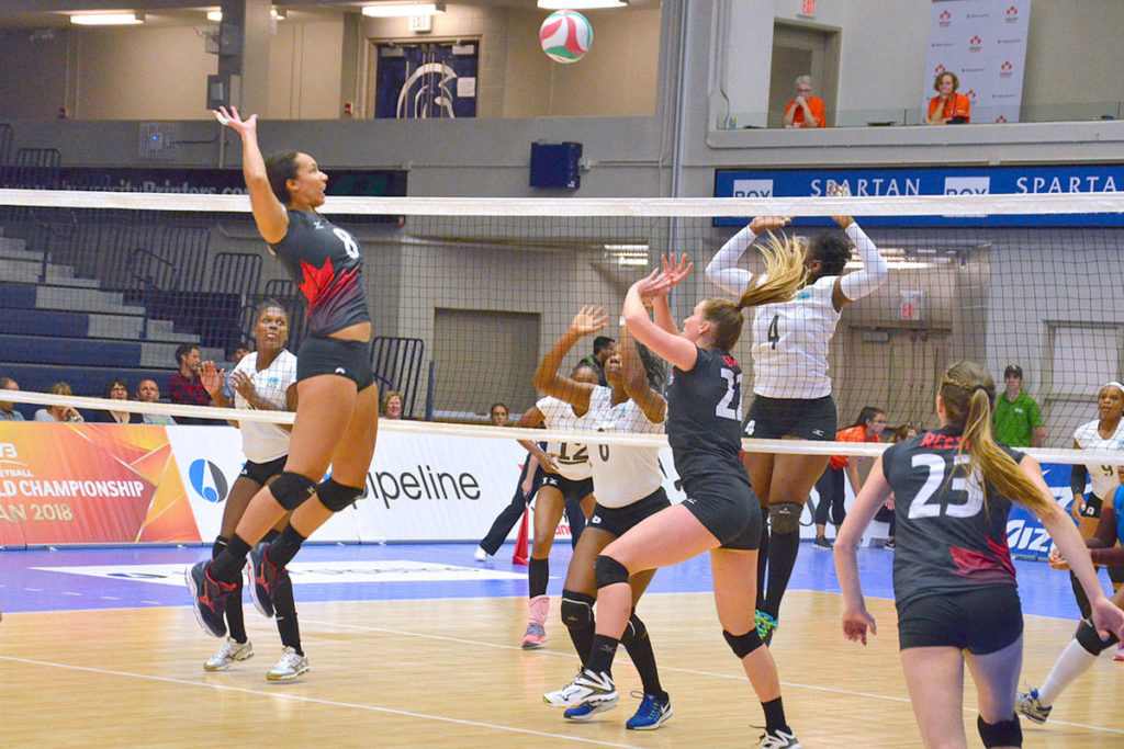 Canada took on Saint Lucia in the NORCECA Women's Contintental Championships Thursday evening. (Heather Colpitts/Langley Advance)
