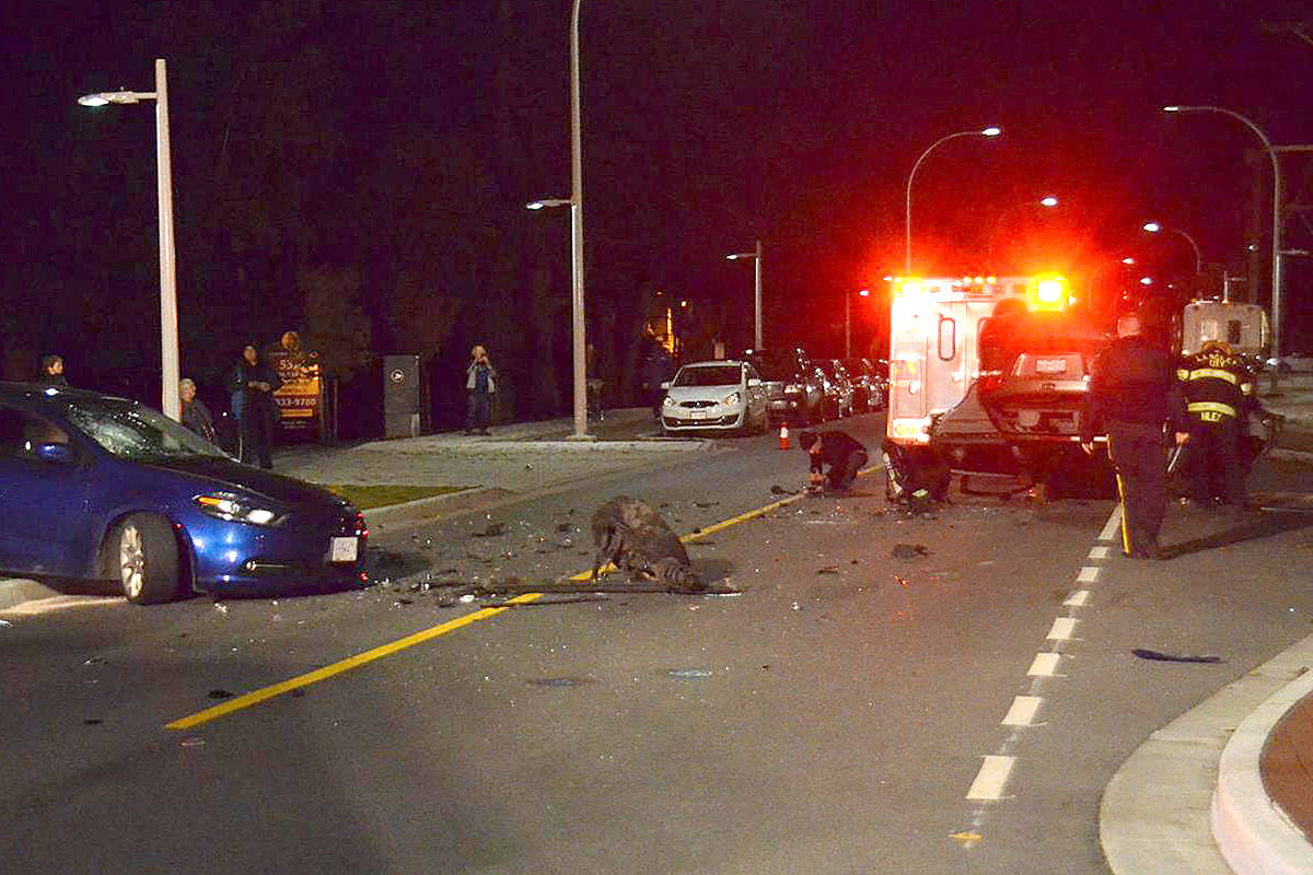 VIDEO: Alcohol suspected in downtown Langley rollover
