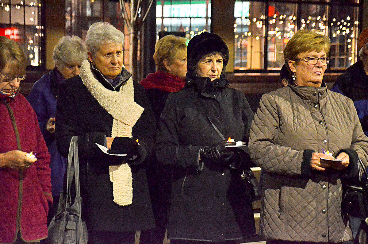 This year's Candlelight Vigil has moved from downtown Langley City (above) to the Bedford Landing in Fort Langley. (Langley Advance files)