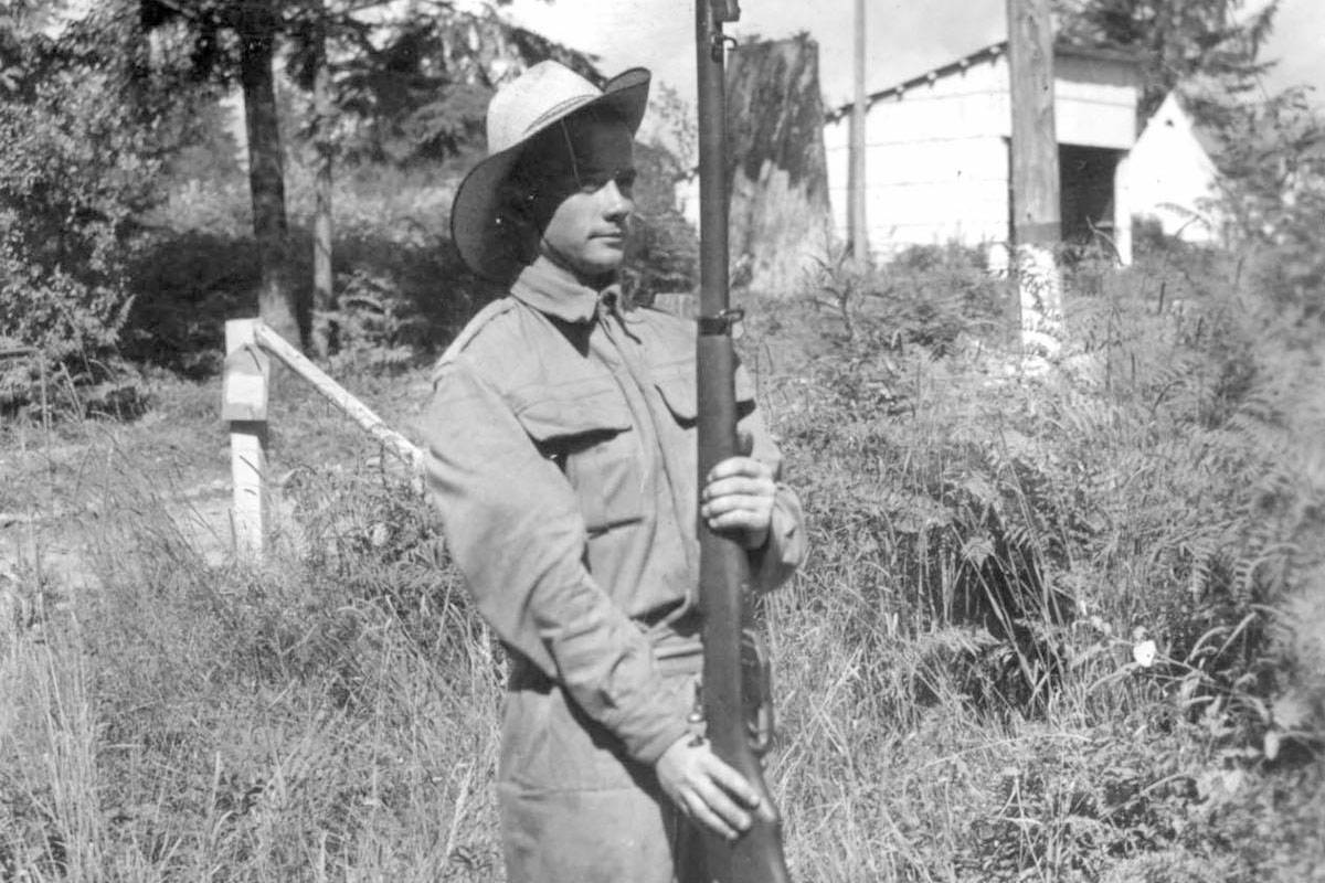 "Last week's photo (inset) showed a soldier of the ""C"" Company, 2nd Battalion of the Westminster Regiment, also known as the Langley Home Guard, at the Blair Range boot camp in North Vancouver. (Langley Centennial Museum)"