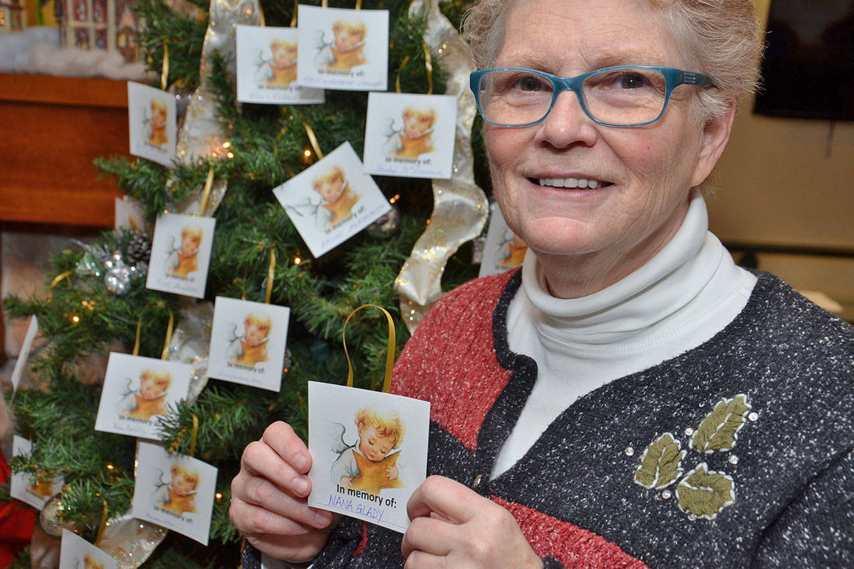 The public can stop by the Langley Seniors Resource Centre during the holidays for its memory tree. Each year for a donation, people hang decorations with the names of deceased loved ones. All funds from the tree go to the centre's bathing program which is no longer funded by Fraser Heath. LSRC board vice chair Lee Douglas said the bathing program relies entirely on donations. (Heather Colpitts/Langley Advance)