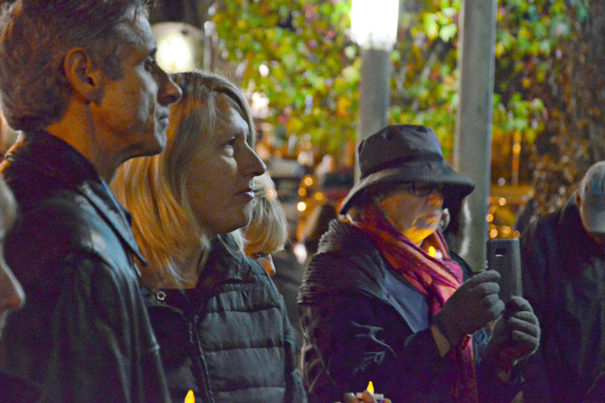 The Soroptimists of the Langleys and Ishtar Transition Housing Society hosted the annual candlelight vigil to mark the UN International Day for the Elimination of Violence Against Women. This time the ceremony was moved to Fort Langley. (Heather Colpitts/Langley Advance)