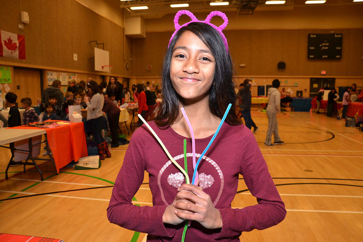 Lynn Fripps Elementary Grade 5 student Shine Chand found the purrfect project for her entrepreneurial efforts – fun animal headbands. (Heather Colpitts/Langley Advance)