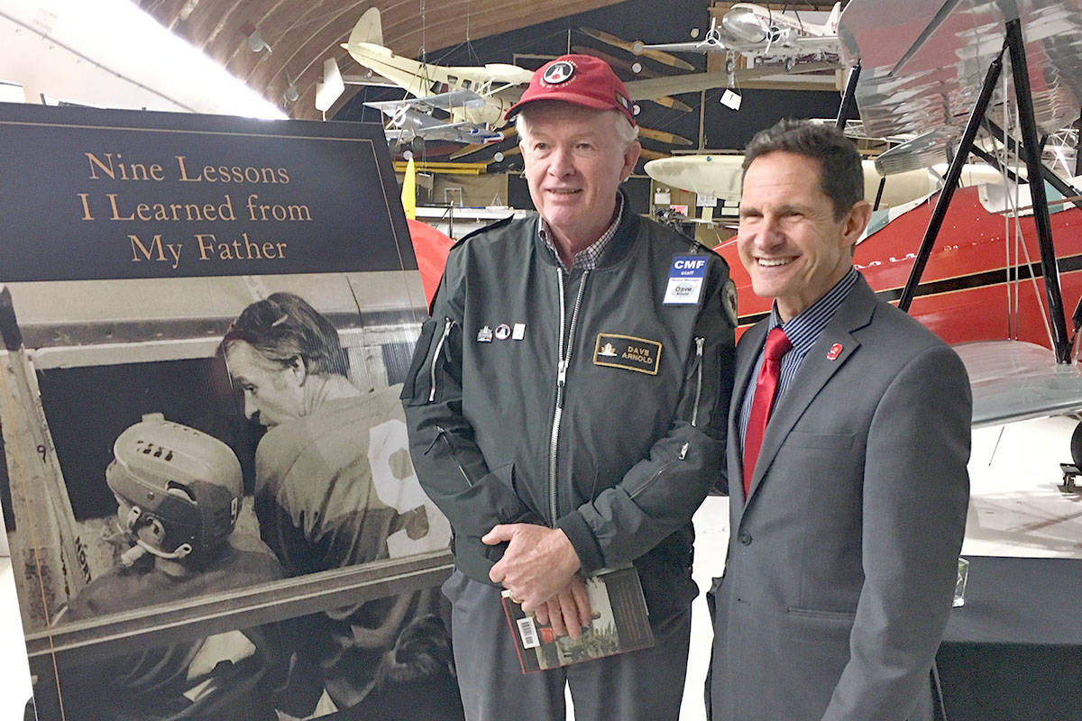 Dave Arnold, senior manager of the Canadian Museum of Flight, met Dr. Murray Howe, the special guest at the Vancouver Giants Memorial Cup gathering Dec. 7. (Lisa Farquharson/Langley Advance)