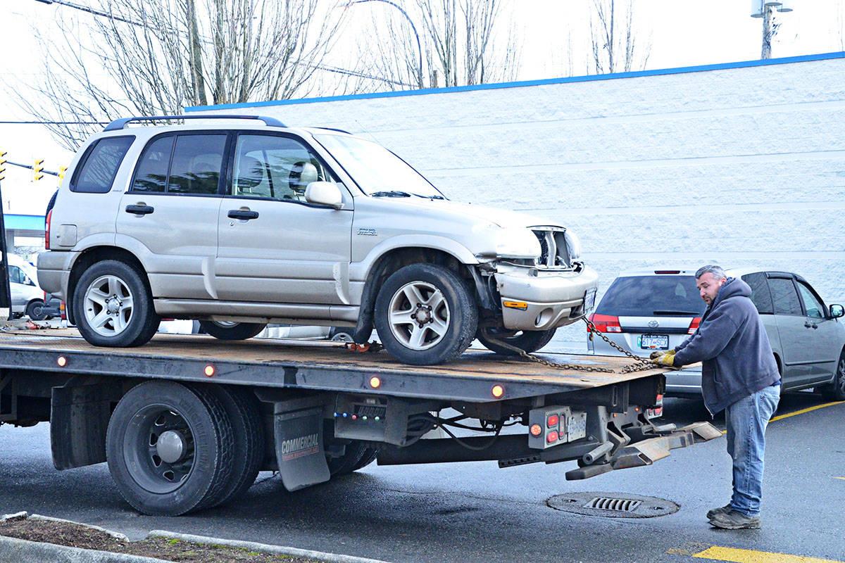 Car jumps curb at Langley Burger King