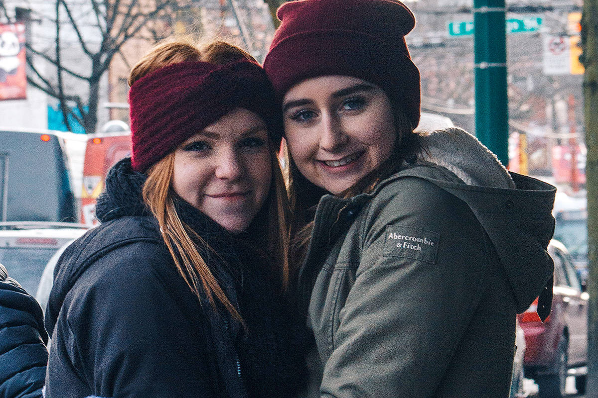 Cierra Foster (left) and volunteer Shaelah Mataechuk, distributed care packages to homeless in Vancouver's Downtown Eastside last December, then reached out to Langley's homeless a few days later. (Special to the Langley Advance)