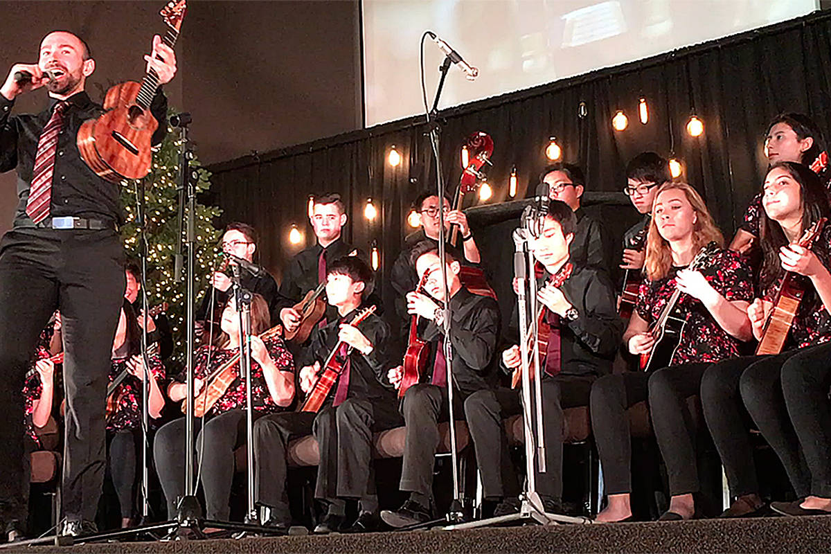 Paul Luongo, director of the Langley Ukulele senior ensembles, will lead a Christmas show in Willoughby Saturday night. (Roxanne Hooper/Langley Advance)