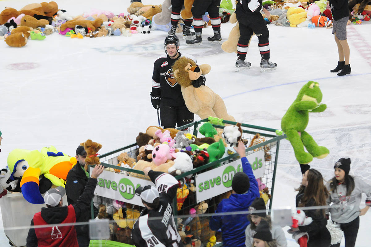 Last year's Teddy Bear Toss for the Giants gathered a lot of stuffies. (Langley Advance files)