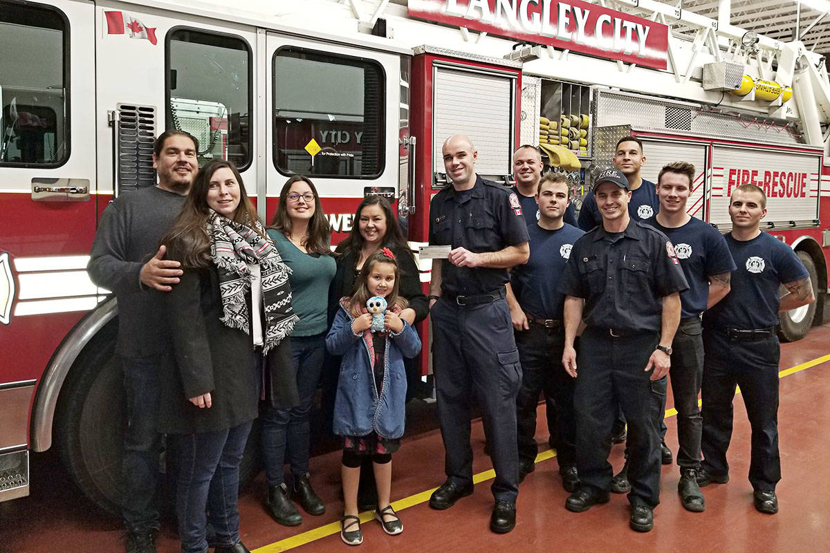 Langley City firefighters donated to the Lower Fraser Valley Aboriginal Society.