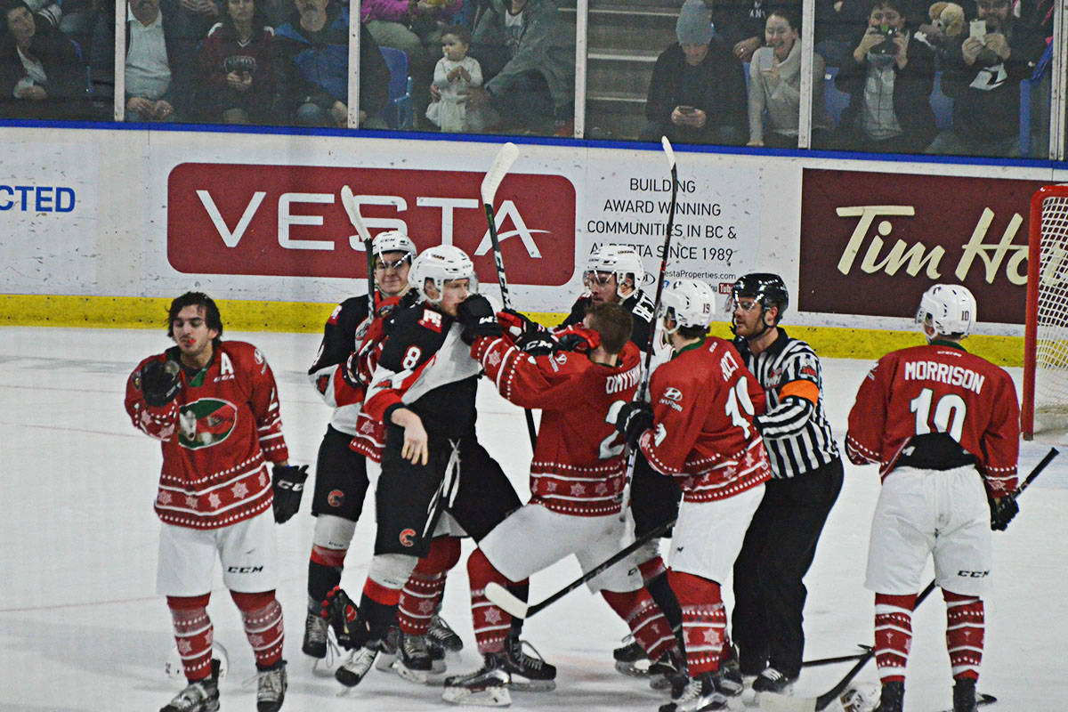 Before the teddy bear toss, tempers flared and there were several fights, including a multi-person brawl during the first period (Matthew Claxton/Langley Advance)