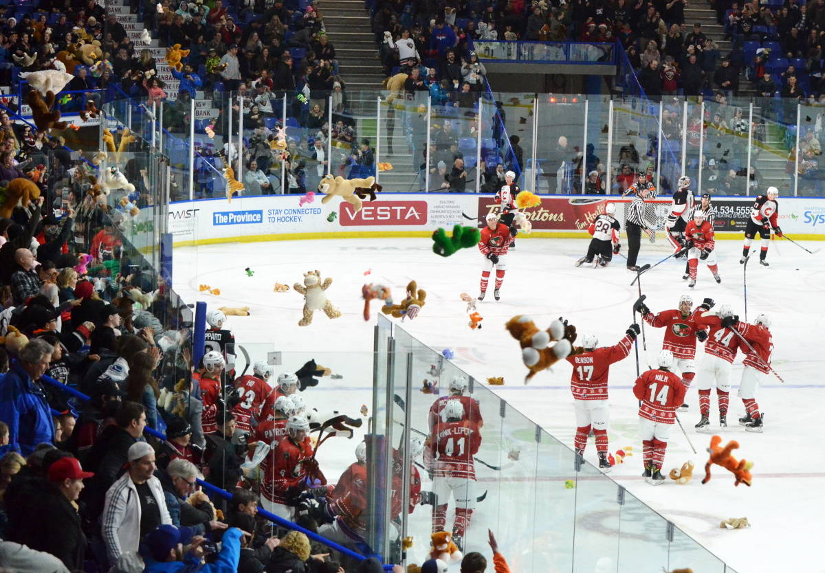 The giants celebrated as fans flung stuffies at the ice on Sunday at the LEC. (Matthew Claxton/Langley Advance)