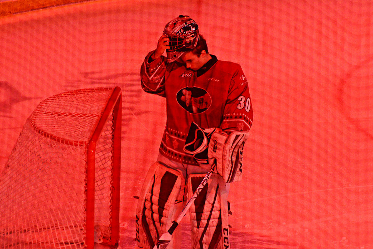 Giants Goalie David Tendeck prepared for Sunday's game under the flashing lights at the LEC. (Matthew Claxton/Langley Advance)
