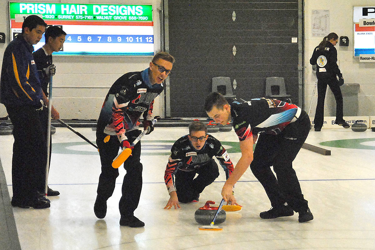 Team Tardi played two games in the first day of competition at the 2017-18 Boston Pizza BC Junior Men's & Women's Curling Championships in Langley. (Roxanne Hooper/Langley Advance)