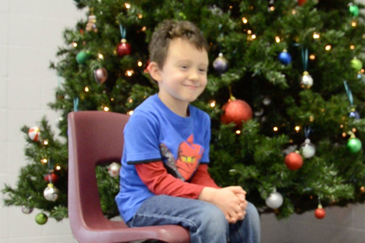 Alec Palahicky is a four-year old at Cookie Monster Preschool in Langley City and imparted his knowledge of Christmas to the Langley Advance. (Heather Colpitts/Langley Advance)