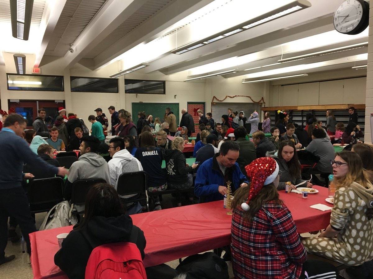 D.W. Poppy Secondary held a pancake breakfast as part of its festive activities before school got out for Christmas break. (Submitted)