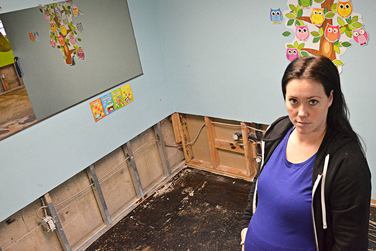 Chelsi Taylor's daycare has lost its flooring and parts of its walls after a sewage backup. (Matthew Claxton/Langley Advance)