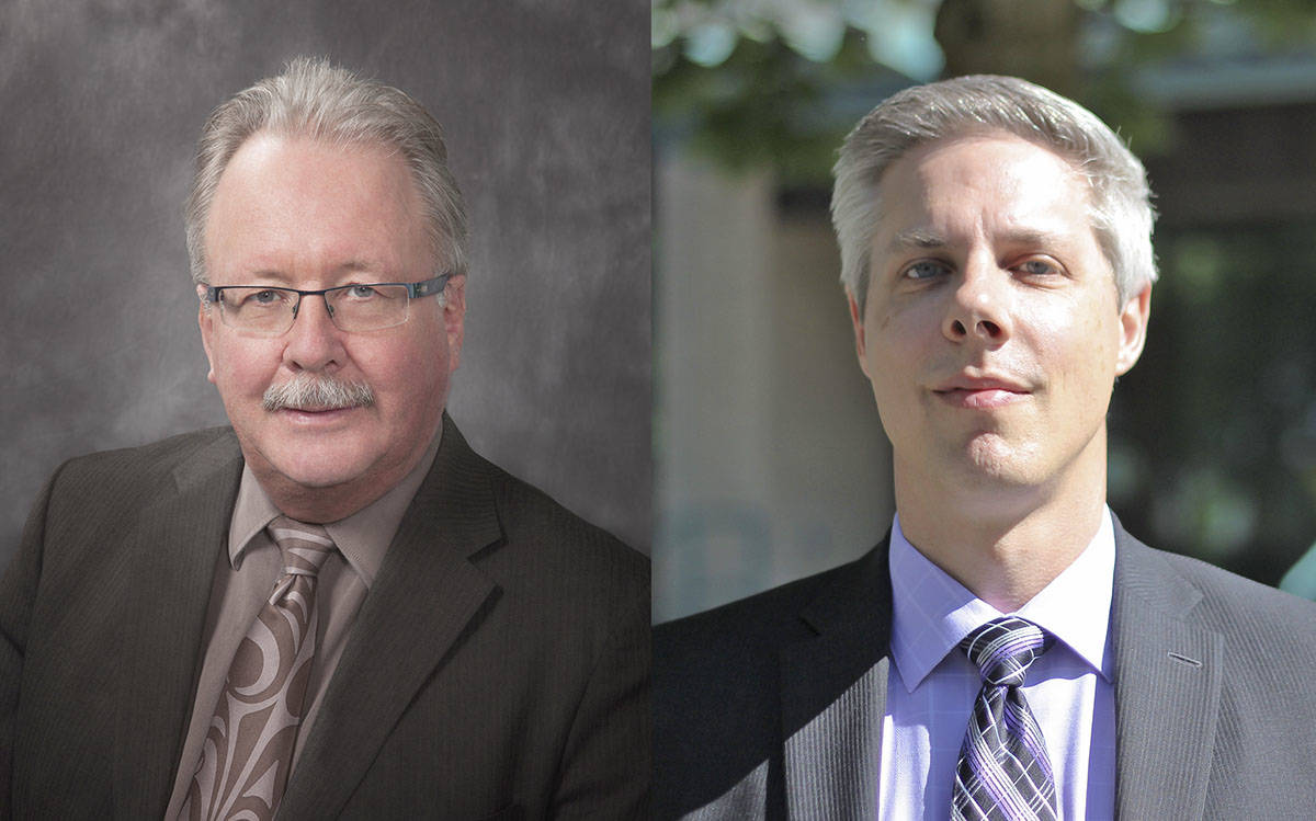 David Green (left) has been with the Langley School District since 2010. Brian Iseli joined in 2012 and has been named Green's replacement as secretary treasurer. (Langley School District photos)