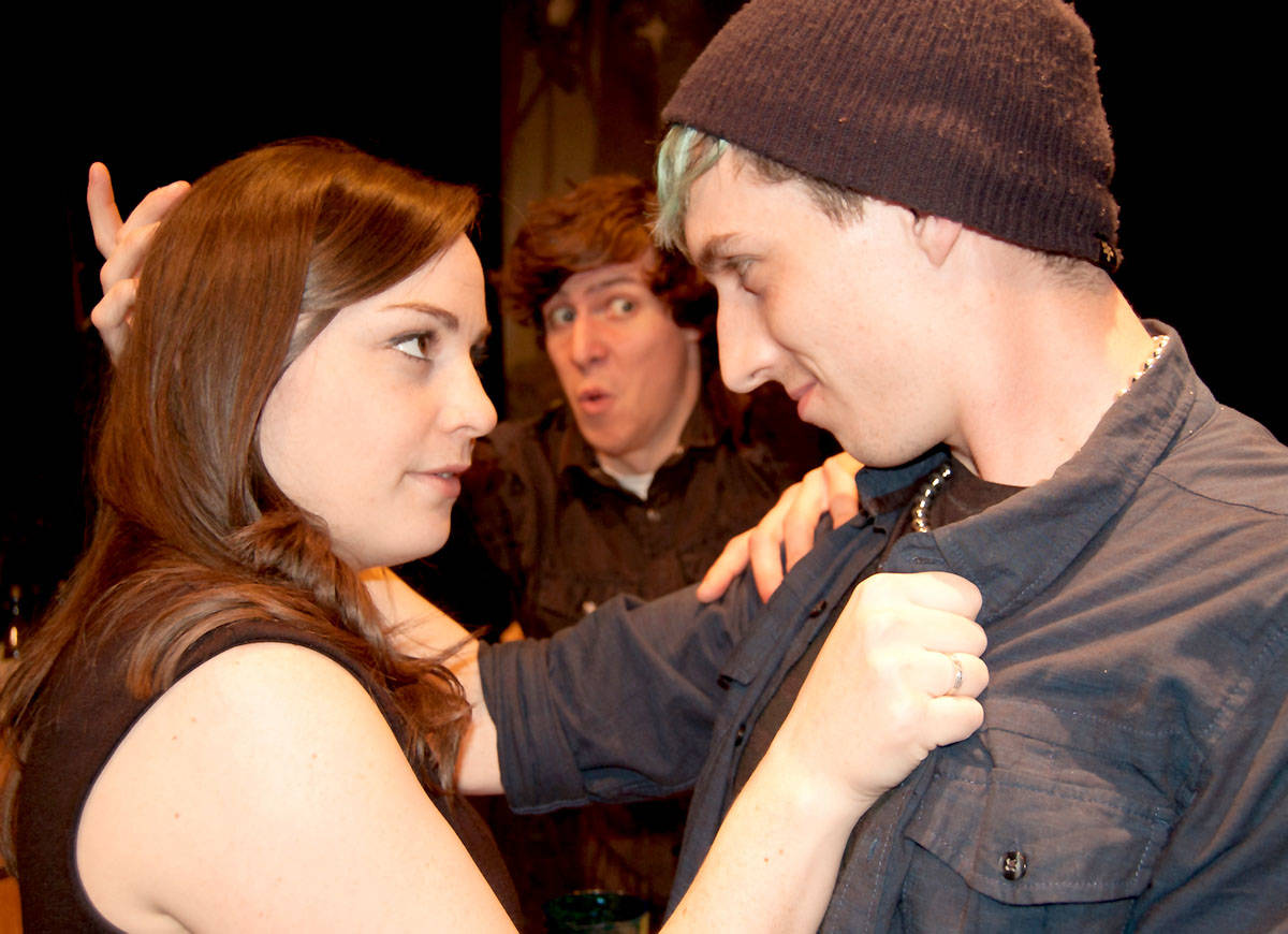 In Canadian Content, (left to right) Madison McArthur plays as Billie, Nikola Trotzuk plays Ivan, and Luke Stevens is Reid.