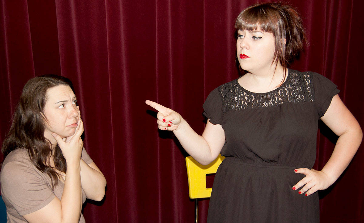 In Domestic Misconduct, the playwright's wife, Mandy Knopp, plays Lyssa with Lauren Trotzuk, as June.