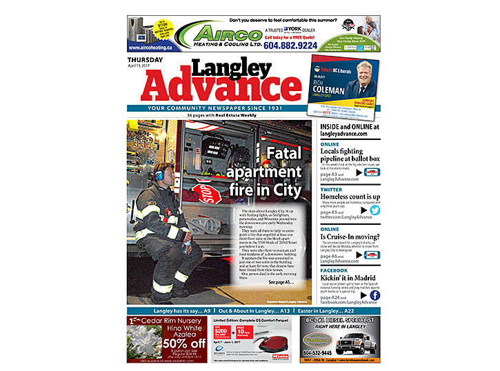 #FrontPageFriday: Sad news for the April 13, 2017 edition with news of a fatal fire