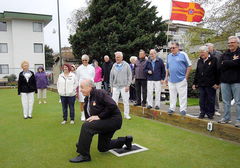 Langley City Mayor Ted Schaffer and Councillors Gayle Martin, Rudy Storteboom, Paul Albrecht, and Nathan Pachal attend the Langley Lawn Bowling Club (20471 54th Ave.) open house on Saturday (April 22), with the mayor delivering the first bowl of the 2017 season. (Special to the Langley Advance)
