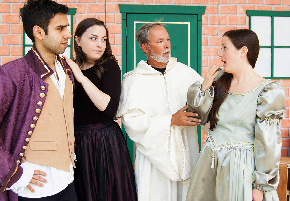 Mantaj Bains, Kerry Van Sickle, Jessica Milliken, Langley's own Emily MacKinnon, Deanne Ratzlaff and fellowLangleyite Kailea De Leon rehearse for Bard in the Valley's upcoming production of Much Ado About Nothing. (Special to the Langley Advance)