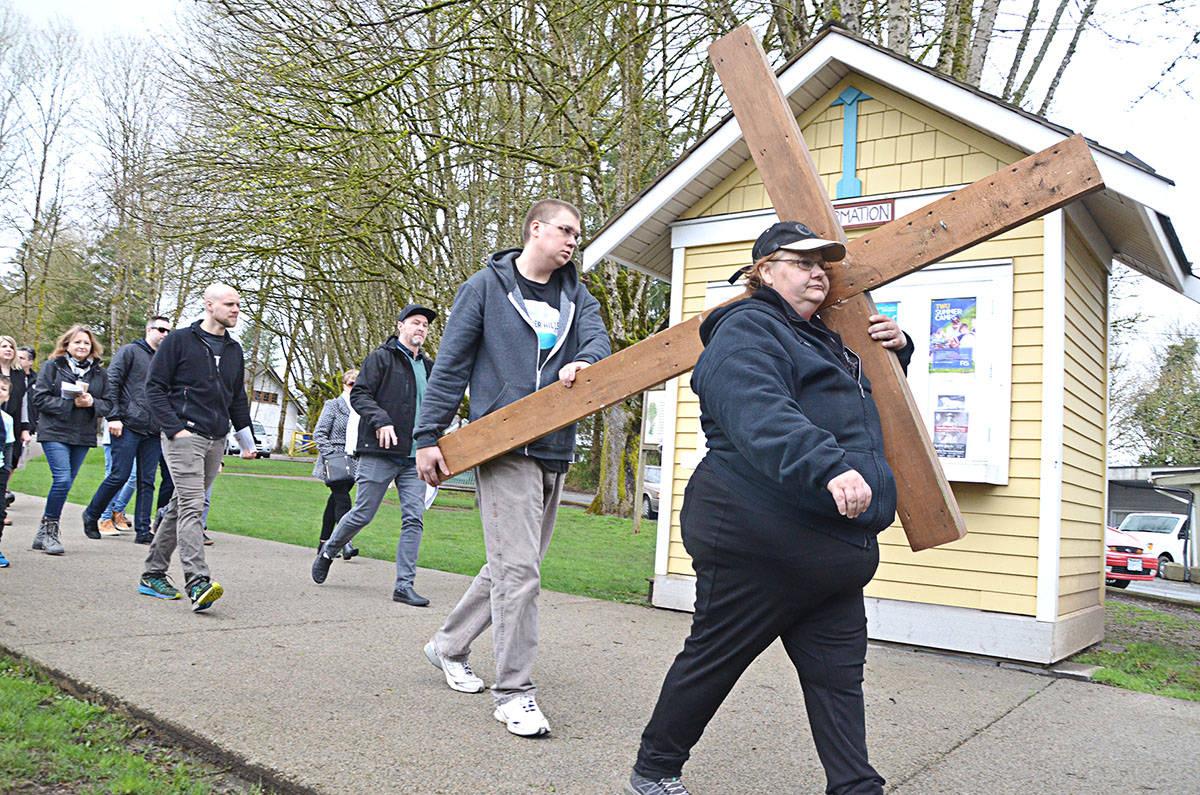 Holy week walk crosses Fort Langley